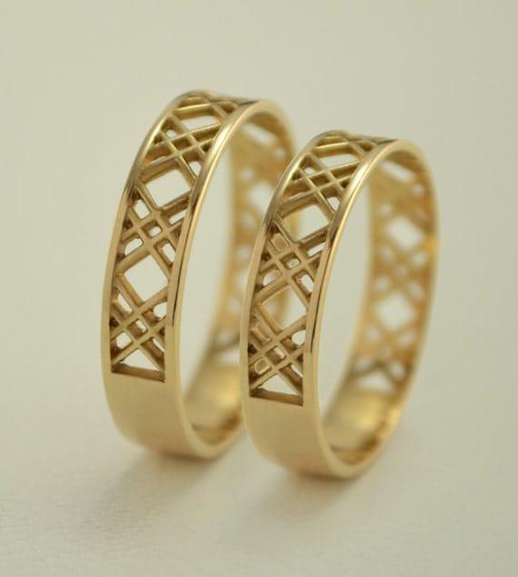 Wedding bands set X wedding rings Matching gold wedding