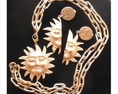 Vintage DKNY Gold Sun God Necklace and Earrings