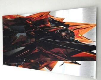 Orange Chaos   Brushed Aluminum Print