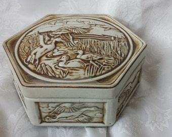 1980 Vintage Avon Ceramic Duck Trinket Box