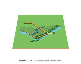 Isometric Montréal Metro map