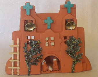Taos Church Nativity with 3 Turquoise Crosses and Light