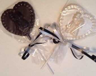 12 Chocolate Wedding Lollipops Weddings Shower Favors Bride Groom