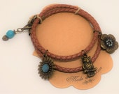Leather Wrapped Wise Owl Bracelet