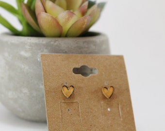 Tiny Sherbet Orange Heart Stud Earrings (Hand-drawn and Hand-painted)