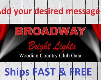Broadway  birthday  banner Custom Banner 6 Feet Long by 24 inches wide Free Shipping
