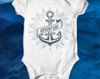 The Adventure Begins Baby Bodysuit | Cute Baby Clothes | Funny Baby Bodysuit | Baby Shower Gift | Nautical Baby Clothes | Newborn Baby