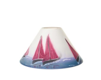 Handpainted Lampshade – Red Sails Design, Coolie, Sea, Seascape, Sailing, Nautical, Boat, home decor, lamp, lighting