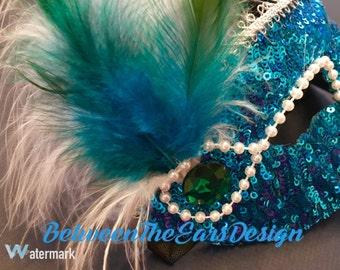 Masquerade Mask: Dark Blue Sequin!