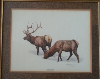 "Guy Coheleach, Limited Edition, American Elk Print, Framed and Double Matted, Plate VIII, 28"" x 24"""