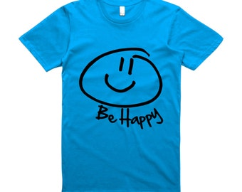 Be Happy Smiley Face Black On Blue T-Shirt - smiley Face,Happy
