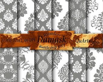 Scrapbooking Paper Gray Damask Digital: Gray Damask Paper, Gray and White Damask, Gray Damask Background, Gray Damask instant Download