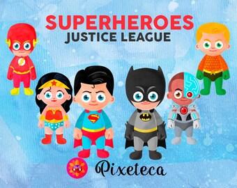 Justice league, superhero clipart, batman clipart, cute batman, dc heroes, superman clipart, superhero decoration, wonder woman clipart,