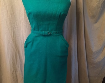 Vintage Emerald Green Wiggle dress with Belt, plus a Jacket and pencil skirt too!