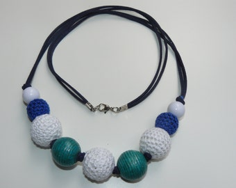 Necklace, handmade, wood and textile, 28 inch.