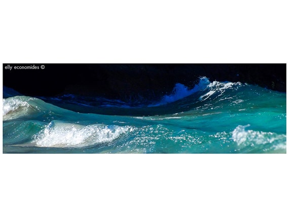 sea, ocean, aqua, wave, blue, water, beach, turquoise, wild, coast, Ocean Water Print, wall art, Ocean Waves, panoramic, 037