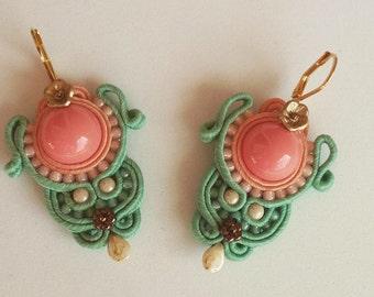 """Earrings Soutache """"Coral & Mint""""."""