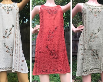 Variety of Embroidered Short Tie-Back Sundress