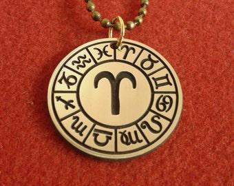 Pendant Aries, Zodiac Disc Necklace