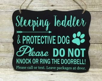 Sleeping Toddler & Protective Dog Door Hanger/Sign/ Baby Gift/ Do not Disturb Sign/ No Soliciting Sign/ Do not Knock Sign