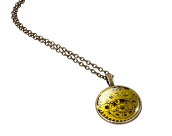 Steampunk Necklace Pendant, Type 4 Vintage Style, Mechanical Watch Gear Glass Cabochon, Bronze Chain