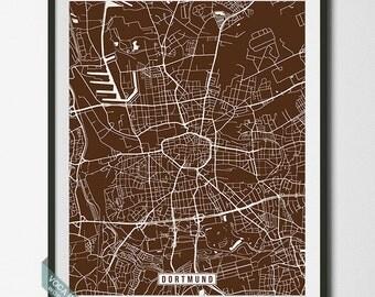 Dortmund Print, Germany Poster, Dortmund Poster, Dortmund Map, Germany Map, North Rhine-Westphalia, Street Map, Dorm Decor