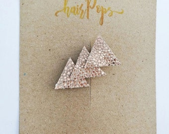 Genuine Leather Triangle Clip - Cracked Peach