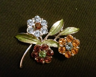 Vintage Colored Rhinestone Pin