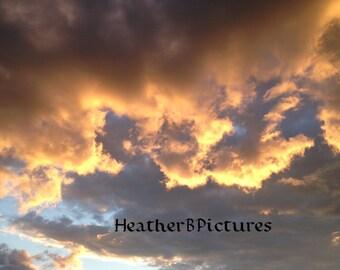 Beautiful Clouds in Salem MA Sunset. In Portrait.