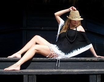 Short Dress Tunic Boho-Hippy Fringed Poncho Dress Woman-Gipsy Style Smoked Pink