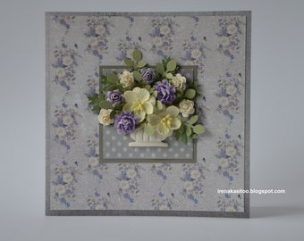 Handmade paper flowers wedding birthday mothers day card