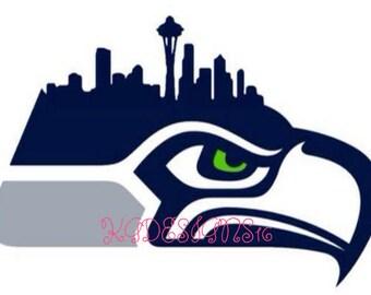 Seattle Seahawks Vinyl-City-Skyline-Emerald City-Vinyl Car-Mug-Decal-Space Needle-City Line-Yeti