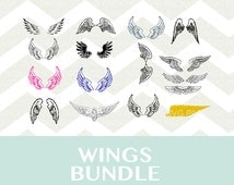 SVG Clipart, Wings Bundle, Animal Clipart, Wings Svg Clipart Png, Svg Cutting File, silhouette svg, usa png, wings clipart, logo svg png