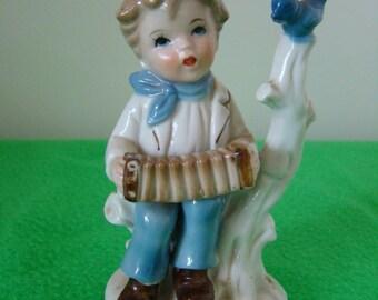 1960's ornament  boy playing accordion/blue/bird/kitsch/vintage/tree/music/white/child/