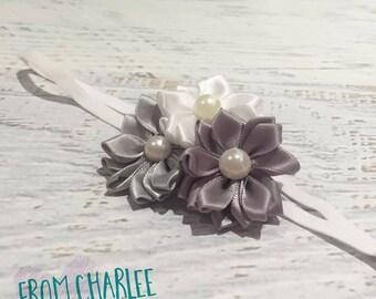 Dark Grey, Grey & White Headband - Handmade