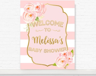 baby shower sign, baby shower banner, pink white stripe, pink and gold, spade baby shower, kate inspired shower, pink gold shower invitation