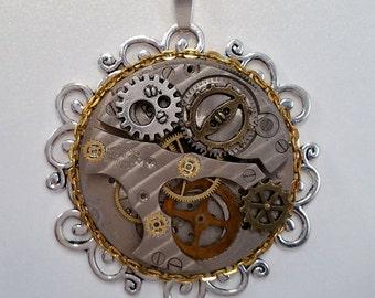 Vintage Watch Movement Steampunk Pendant
