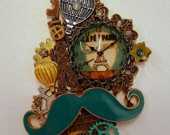 Mustache Paris Themed Steampunk Pendant