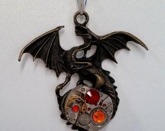 Watch Movement Dragon Pendant