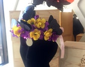 Handmade Festival Purple and Yellow One-of-a-kind Festival Flower Butterfly crown
