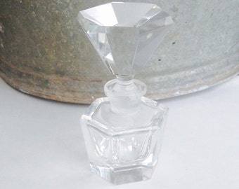Glass Perfume Bottle, Vintage Perfume Bottle, Crystal Perfume Bottle, Vintage Glass Bottle