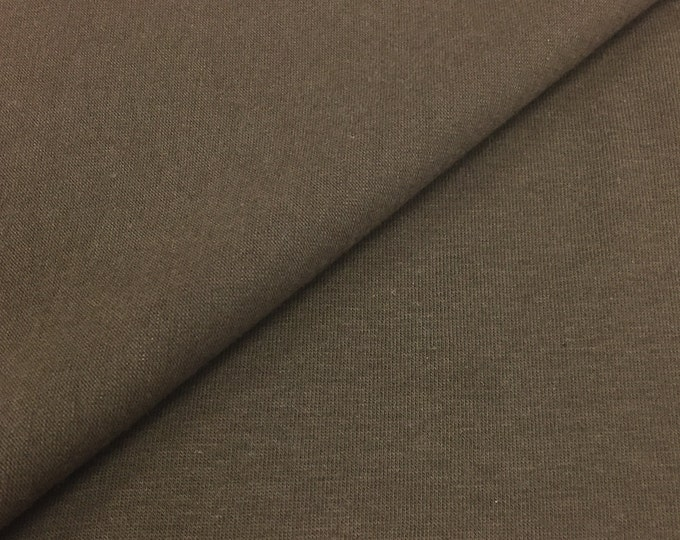 Cotton Jersey Knit Fabric With Spandex (Wholesale Price Available By The Bolt) USA Made Premium Quality- 3091 Chocolate - 1 Yard