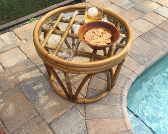 Round glass top bamboo table