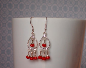 Silver Plated Red Bead Chandelier Earrings