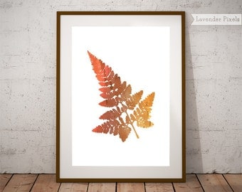 Autumn leaves, fall decor, watercolor wall art, leaf print, orange print, botanical art, leaf decor, nature poster, instant download