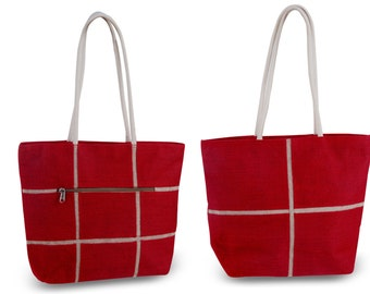 Yutton Fine-Jute Premium Handbag/Tote - Red