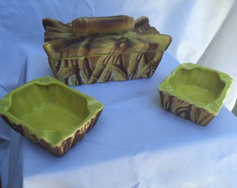 Bamboo Cigarette container/ash trays (set of 3)