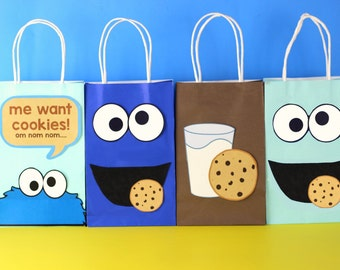 Cookie Monster Favor Bags-Instant Download