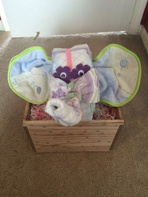 baby elephant diaper cake animal cake bibs and wipes shower gift or
