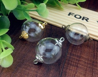 5pcs 16-25mm double hole (2mm) glass globe with cap set glass pendant necklace glass vial pendant hollow glass dome glass cover glass bottle